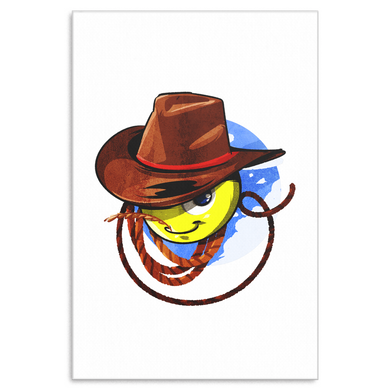 Cowboy Rodeo Funny Cartoon Face Canvas Art