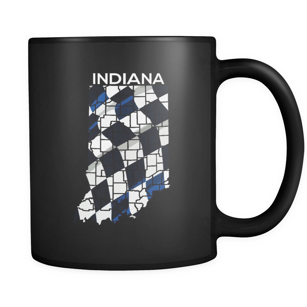 Indiana State Indianapolis Checkered Flag Map U.S.A Black 11oz mug
