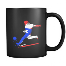 Puerto Rico Mug - Puerto Rico Soccer Player Design on Black ceramic 11oz mug