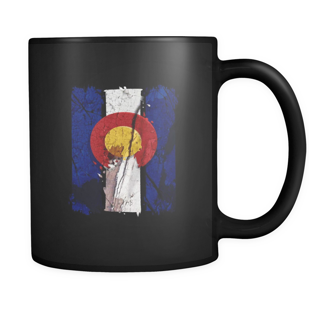 Colorado State Patriotic US Vintage Flag  Black 11oz mug