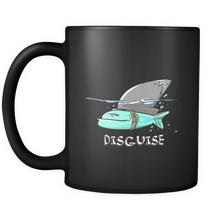 Funny Animal Mugs - Shark Disguise Design on Black Ceramic 11 oz Mug