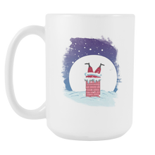 Santa in Chimney Christmas White 15oz Mug Gift