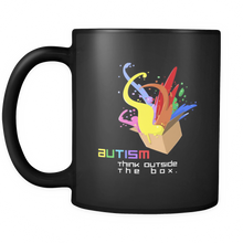 Autism Think Outside the Box Love, Understand and Accept Black Ceramic 11oz Mug