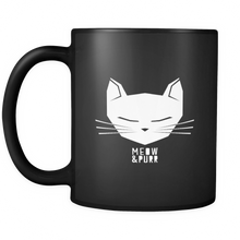 Cat Animal Mug - 'Meow and Purr' Quote and Cute Cat on Black ceramic 11oz mug