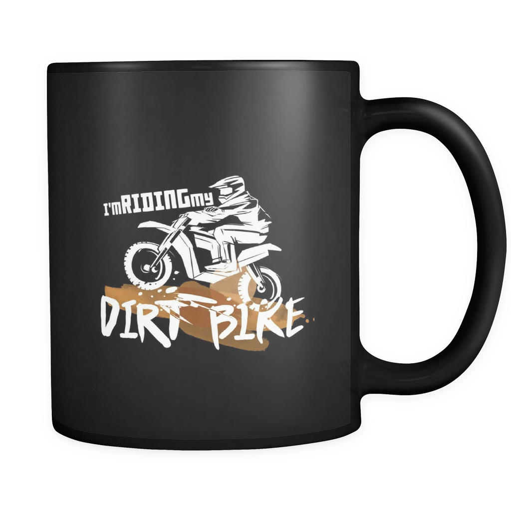 Motorbike, Love Riding My Dirtbike Black Ceramic Mug