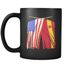 Spanish American Spain and America Pride Flag Black 11oz mug