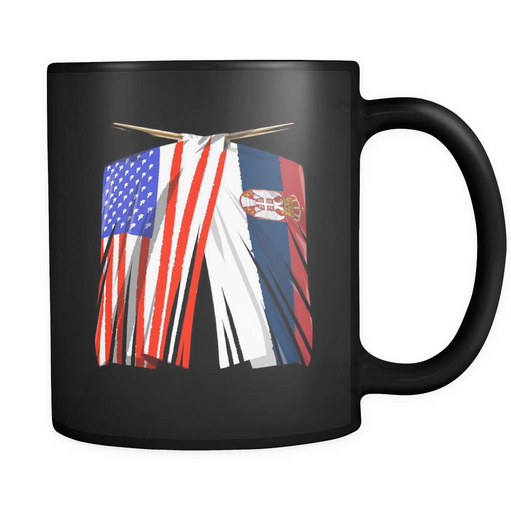 Serbian American Serbia and America Pride Flag Black 11oz mug
