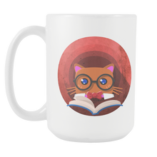Nerdy Cat Funny Book Nerd Librarians 15oz Mug