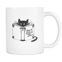 Cat Animal Mug - 'How To Rule The World' Quote and Cute Cat on White ceramic 11oz mug