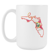 Love Florida State Flag Outline Souvenir Gift White 15oz Mug