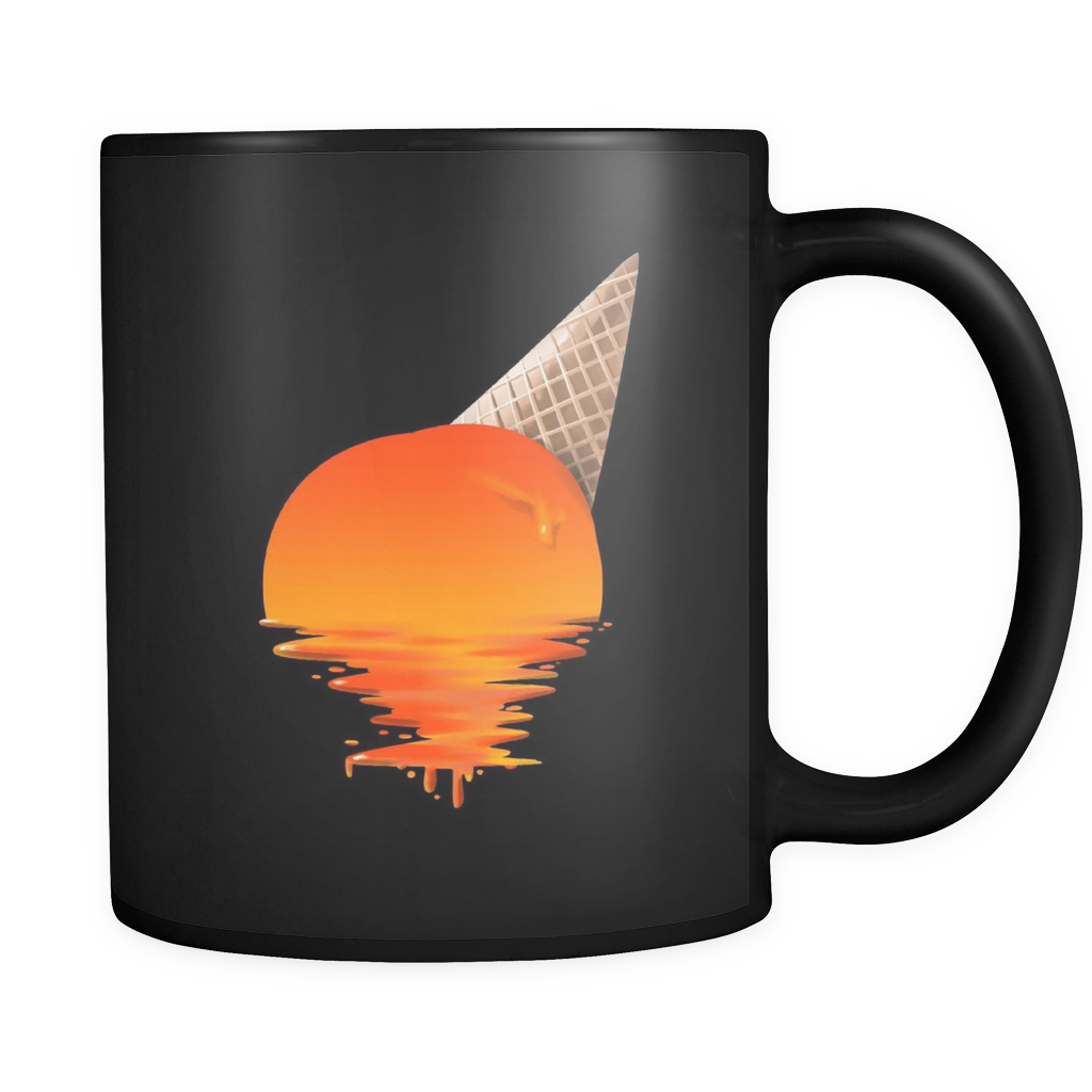 Sunset Mug - 'Sunset Ice Cream' Image on black ceramic 11oz mug