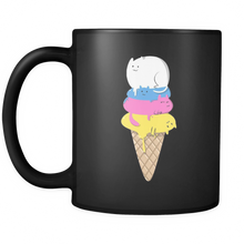 Colorful Animal Cat Ice Cream Design On Black 11 oz Mug
