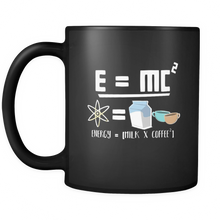 Energy = Milk and Coffee Cute Equation Black Mug For Coffee Lovers