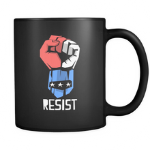Resist Power Fist Mug - Original Fist Image with Quote 'Resist' on Black Mug
