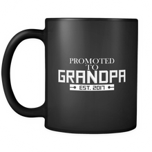 Quote on Mug 'Promoted To Grandpa' Est. 2017 - Soon to be Grandpa Mug - Black 11 oz