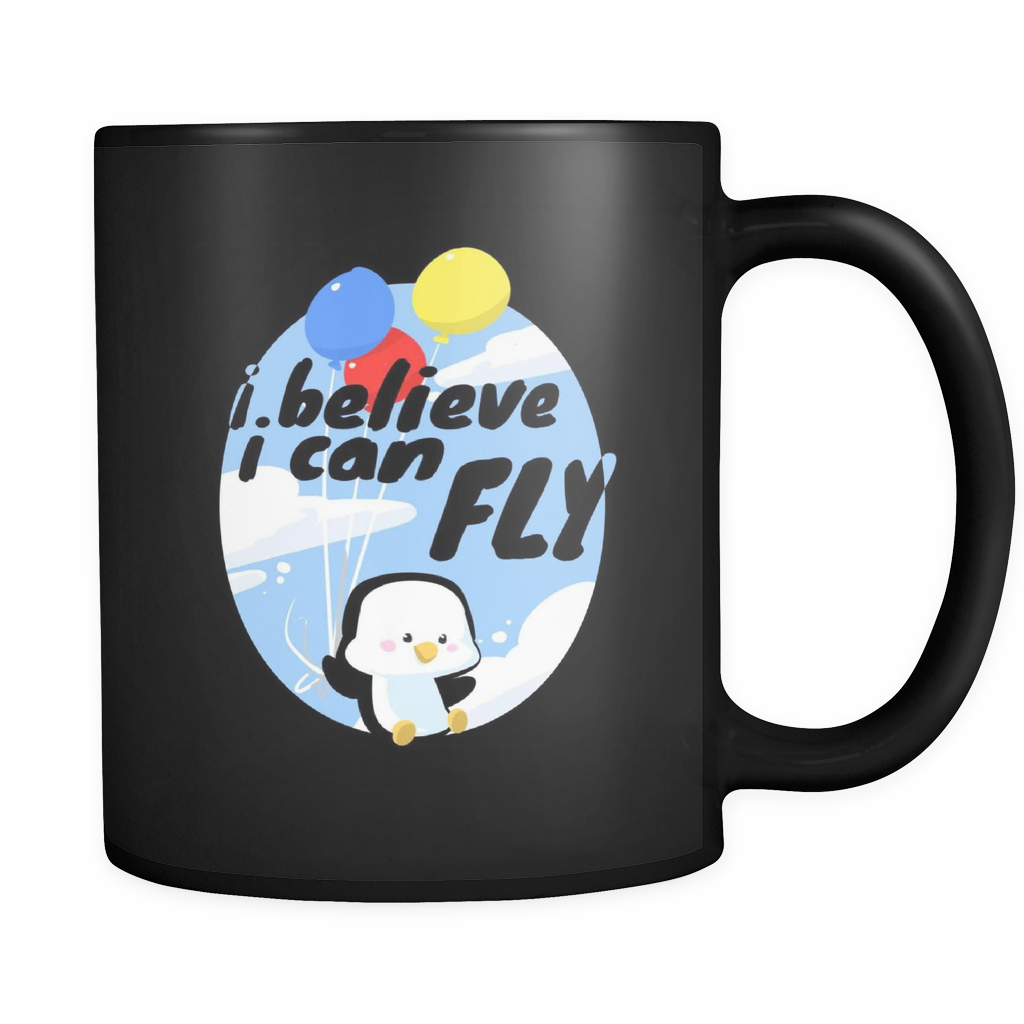 I Believe I can Fly Funny Penguin Balloon Black 11oz mug