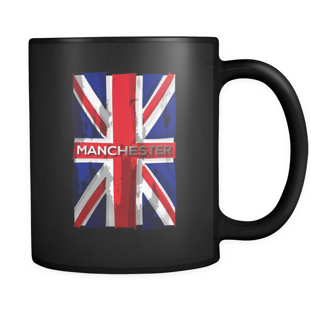 Manchester, England, Stay Strong, Vintage Flag UK Black 11oz mug
