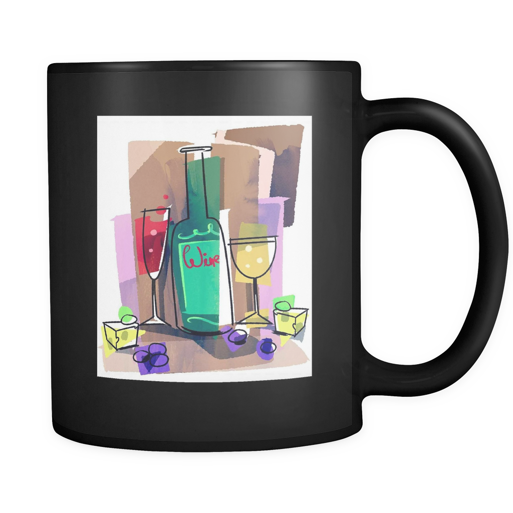 Wine is Life Design On Black 11 oz Mug