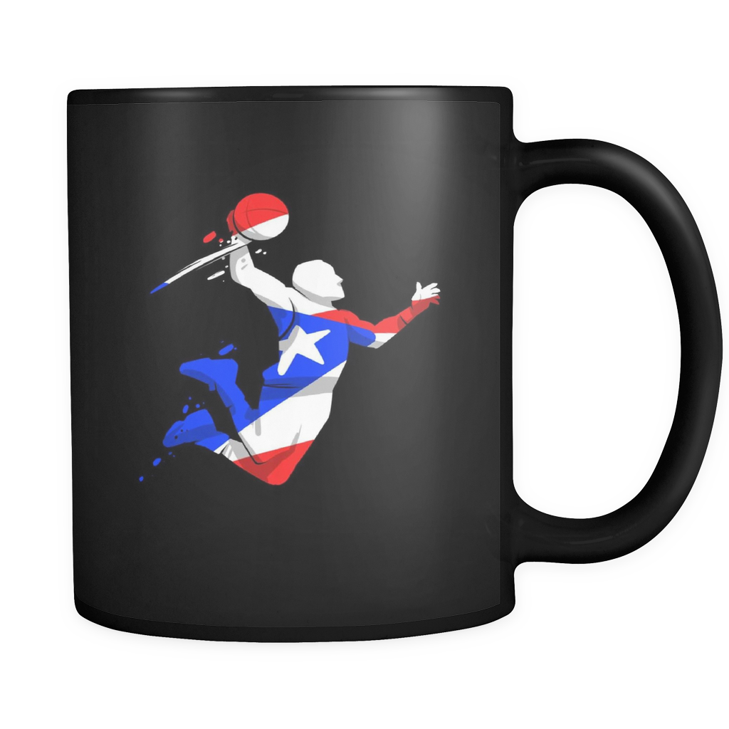 Puerto Rico Mug - Puerto Rico Basketball Player Design on Black ceramic 11oz mug