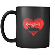 I Love Kansas City KC Skyline Heart State U.S.A Black 11oz mug