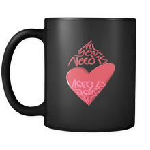 "Quote Mug ""All You Need is Love"" - 11 oz Black Coffee Mug or Tea Mug from Lifehiker Designs"