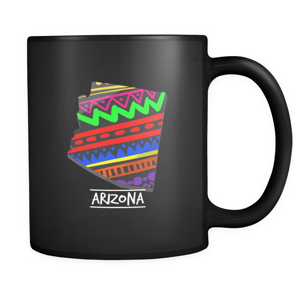 Arizona Aztec Retro Map U.S.A State Pride Black 11oz mug