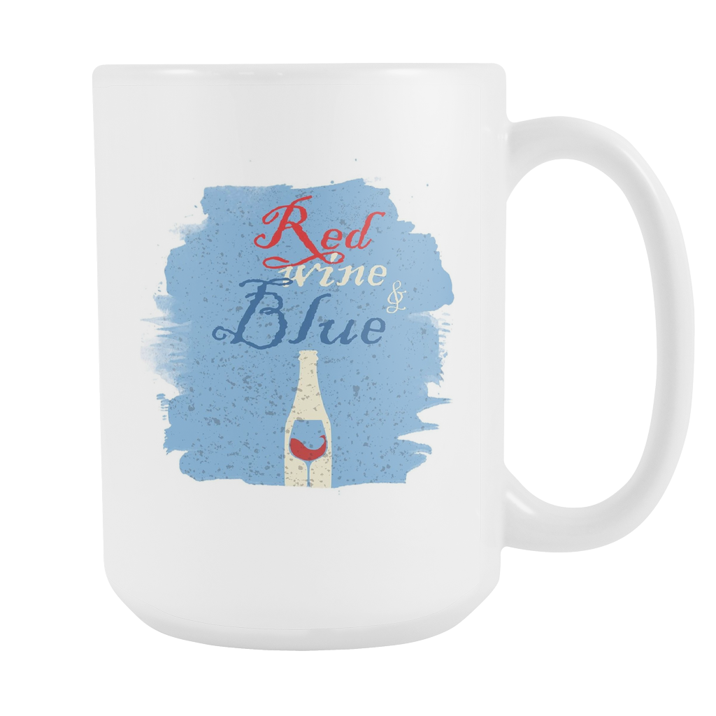 Red Wine and Blue American US Patriot Party Drinkers White 15oz Mug