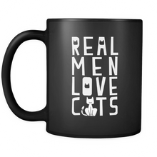 Real Men Love Cats Quote on Black 11oz Coffee Mug