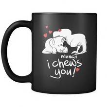 Heart Animal  Mug - 'I Chews You' Fun Design on Black 11oz Mug