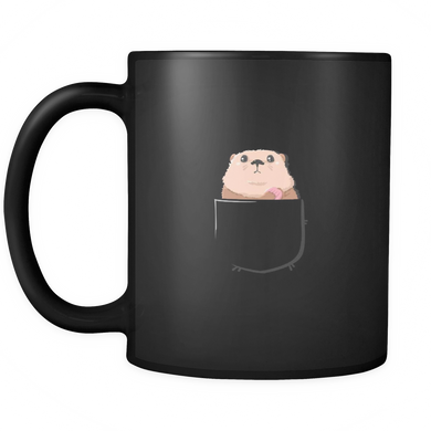 Sea Otter in a Pocket,Love Otters Cute Black 11oz mug