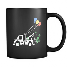 St Patricks Day Mug - Colorful Truck and Balloon Design - Kids Black 11oz Mug