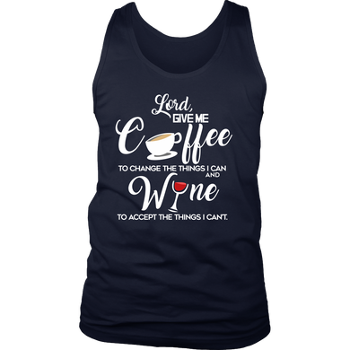 Drinking Men's Tank - Give me coffee and wine funny quote