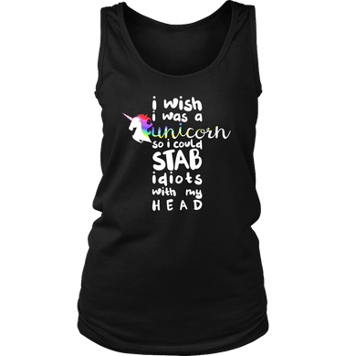 Wish I was a Unicorn Funny Humor Animal Women's Tank Top T-shirt