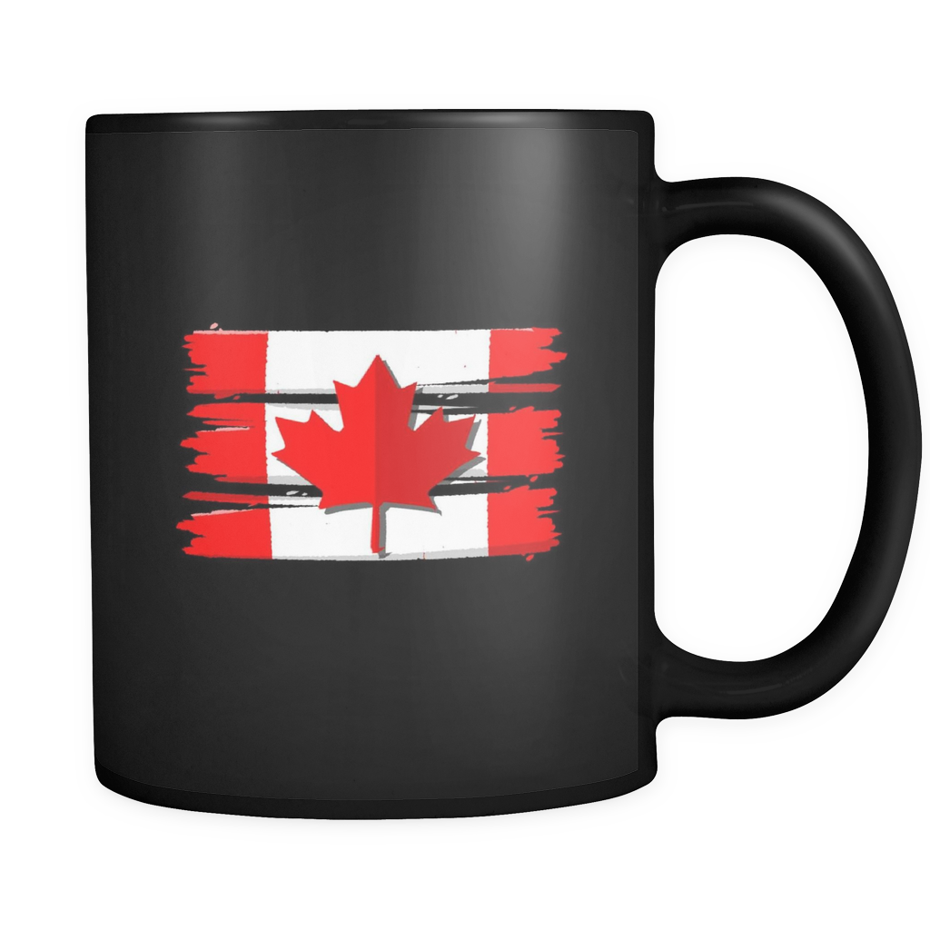 Flag Of Canada Maple Leaf Retro Canadian Black 11oz Mug