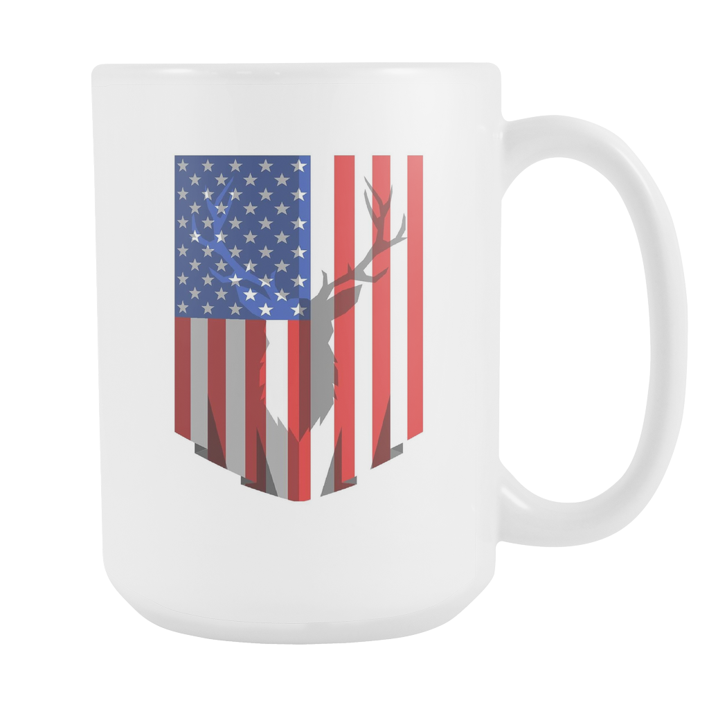 Deer Hunting USA Flag Mug - White Ceramic 15oz Mug