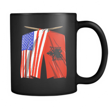 Albania America US Flag Trendy Black Ceramic Mug