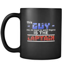 This Guy Is the Captain Boating Bosses Funny Black 11oz mug