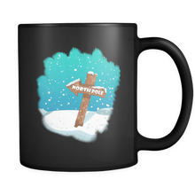 North Pole Christmas Black 11oz mug