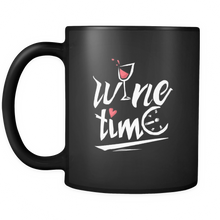 Wine Lovers Mug - Quote 'Wine Time' Stamped on Black 11oz Ceramic Mug