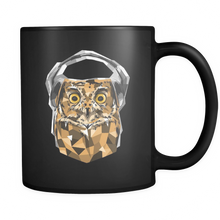 Animal Life - Owl With Headphones Design on Black Mug