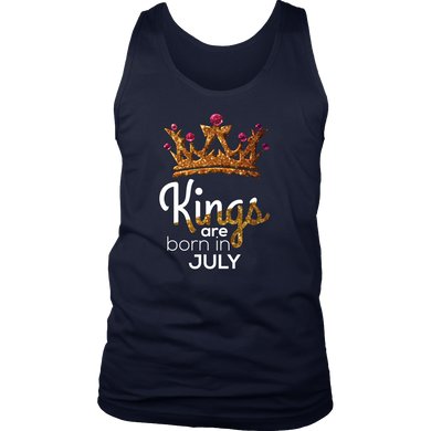Kings Are Born in July Birthday B-day Gift Men's tank