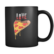 Pizza Mug - Tasty and Funky Pizza Design on Black Ceramic 11oz Mug