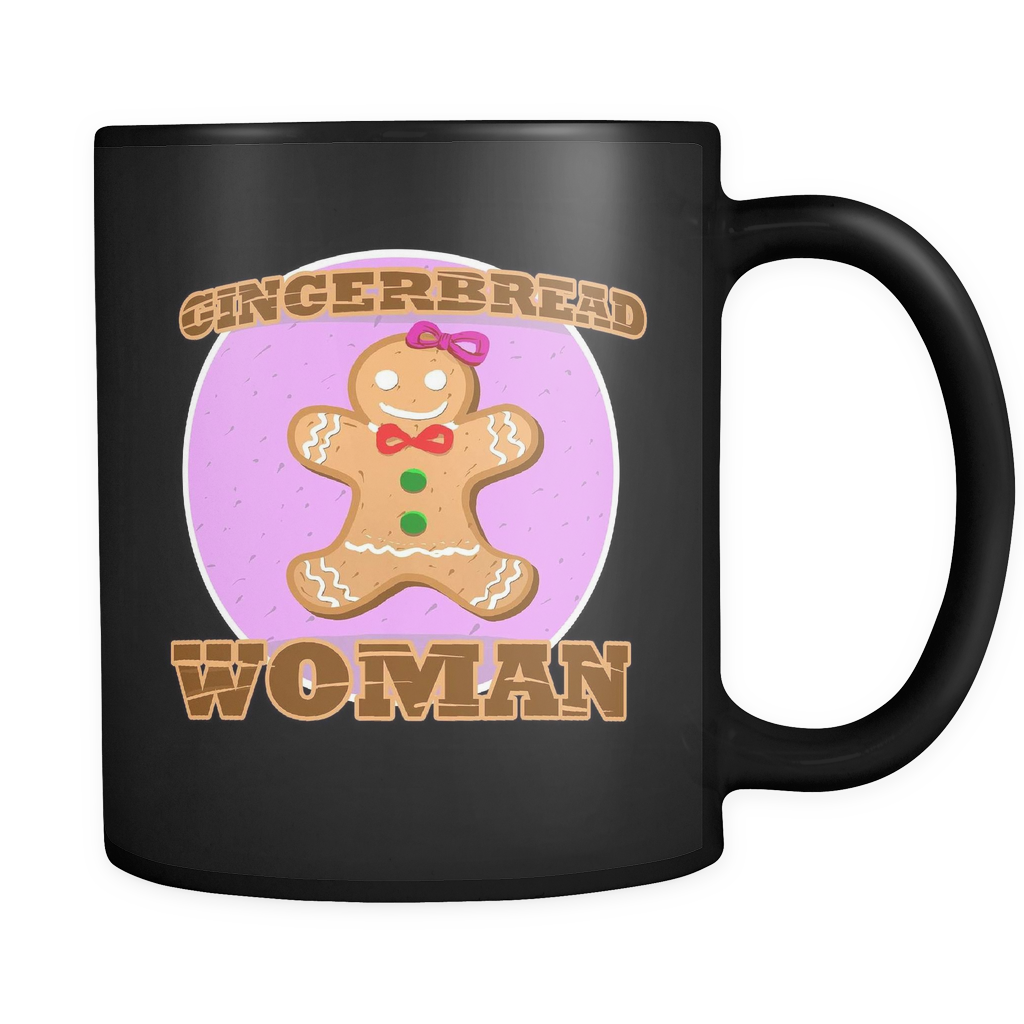 Gingerbread Woman Christmas Black 11oz mug
