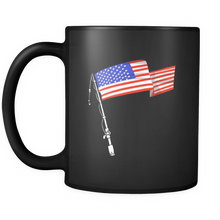 Fishing American USA Flag Novelty Black Ceramic 11oz Mug