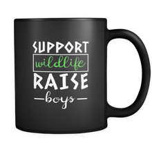 Support Wildlife, Raise Boys Cool Mama, Mums and Dads Black 11oz mug