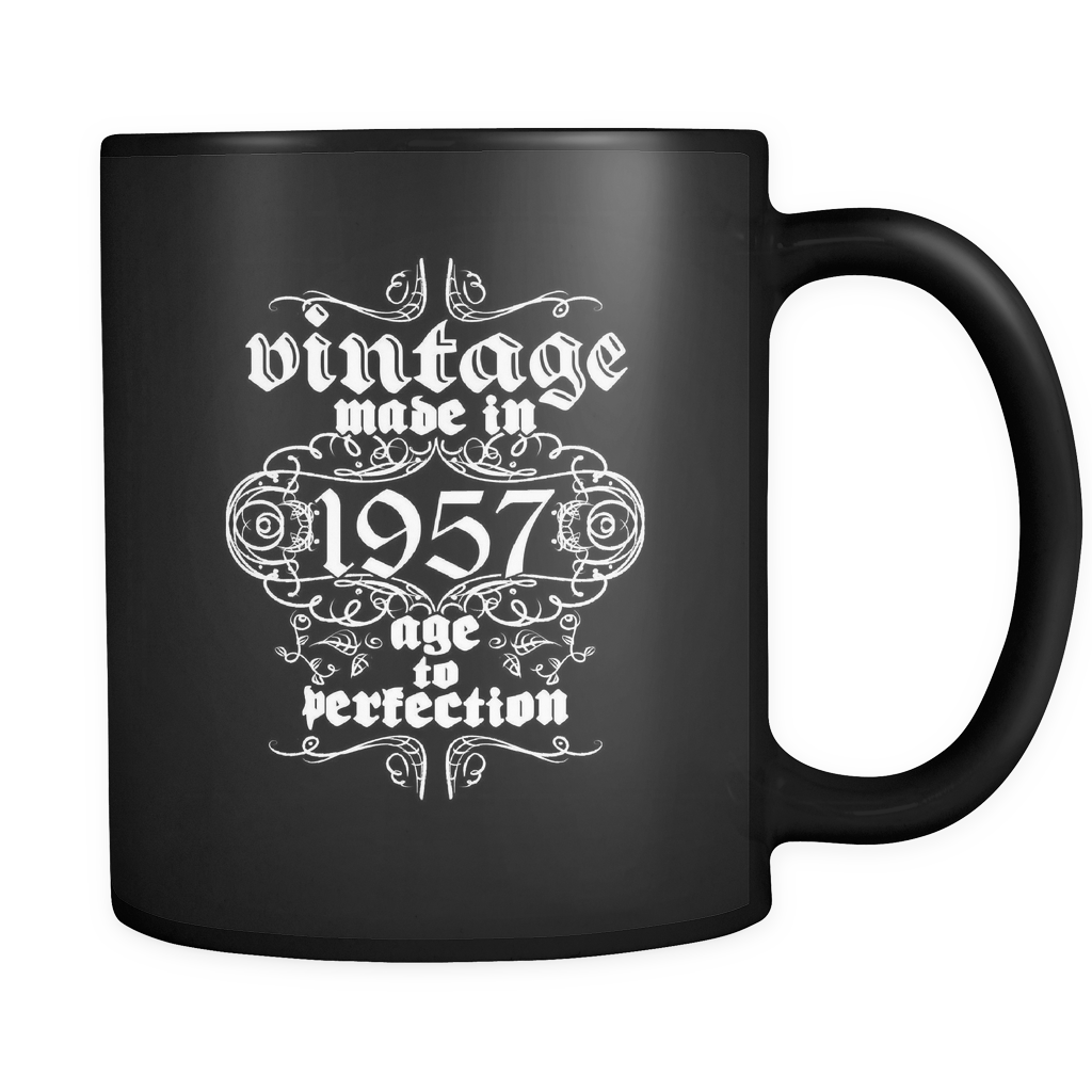 Vintage Coffee Mugs - Vintage, Made in 1957, Age to Perfection Quote on black mug