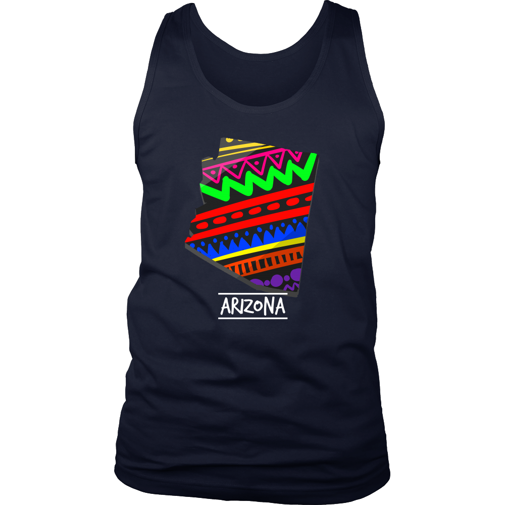Arizona Aztec Retro Map U.S.A State Pride Tank