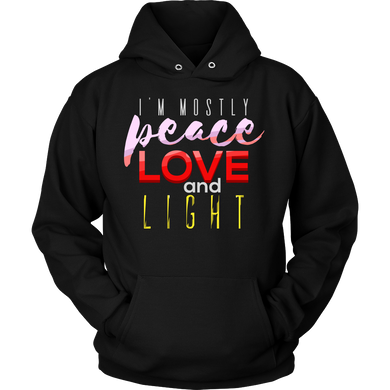 Peace Love and Light Inspirational Quote Premium Hoodie