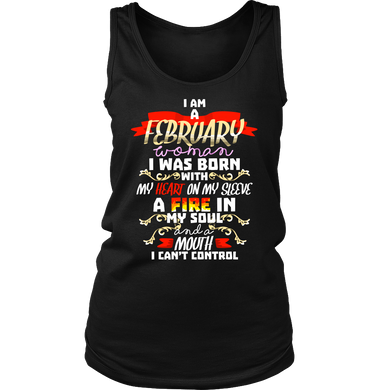 Born in February With Fire in My Soul Birthday B-day Gift Women's Tank Top Shirt