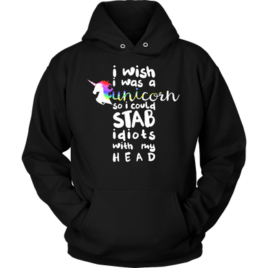 Wish I was a Unicorn Funny Humor Animal Hoodie